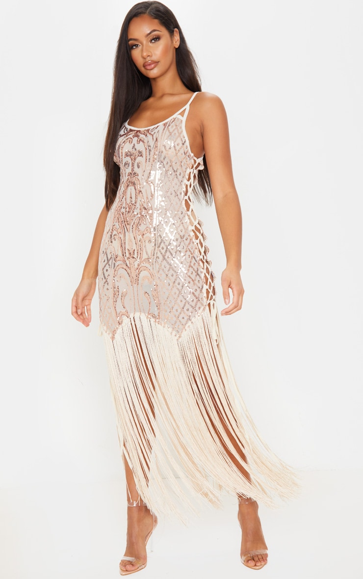 Gold Sequin Lace Up Side Tassel Midi Dress 1