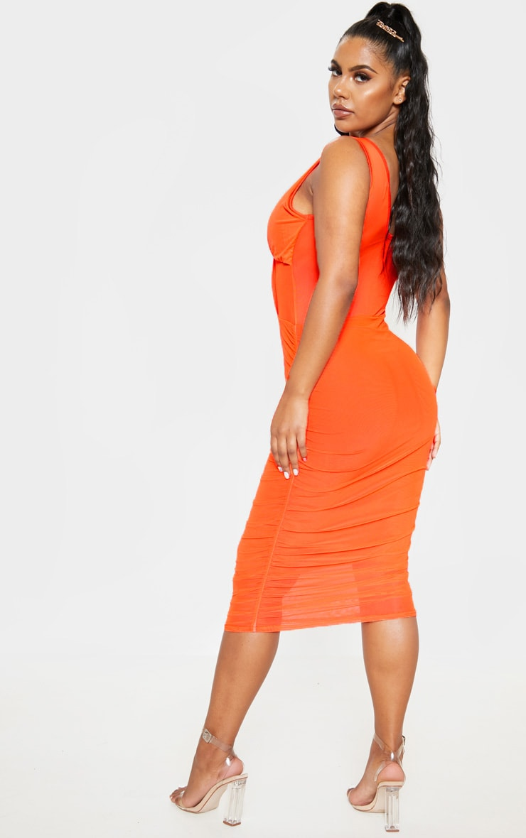 Bright Orange Mesh Binding Ruched Midi Dress 2