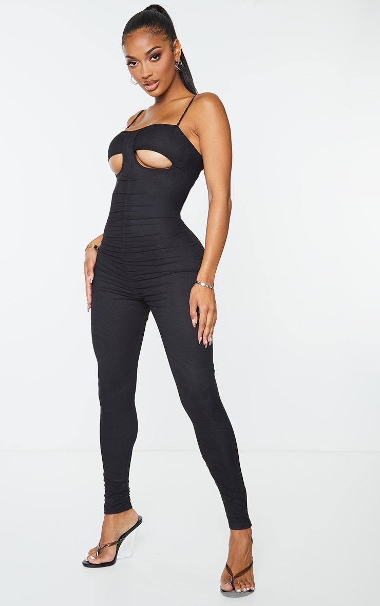 Shape Black Mesh Ruched Cut Out Jumpsuit 4