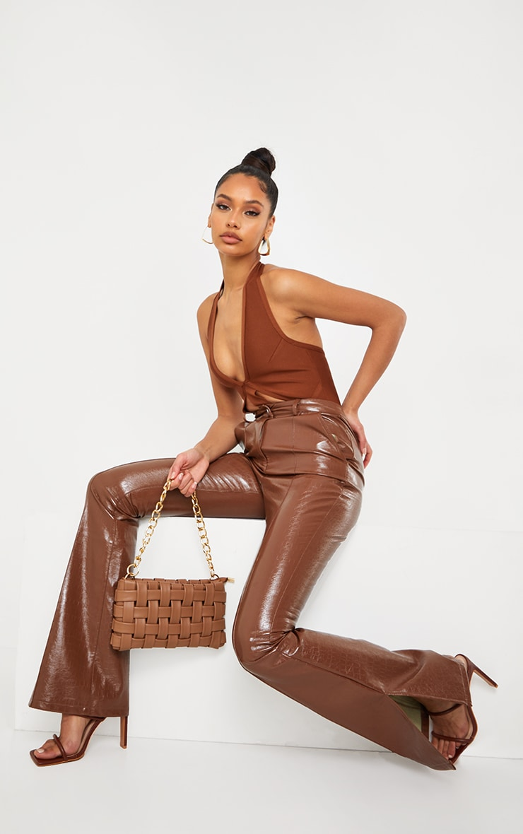 Chocolate Bandage Halterneck Bodysuit 3
