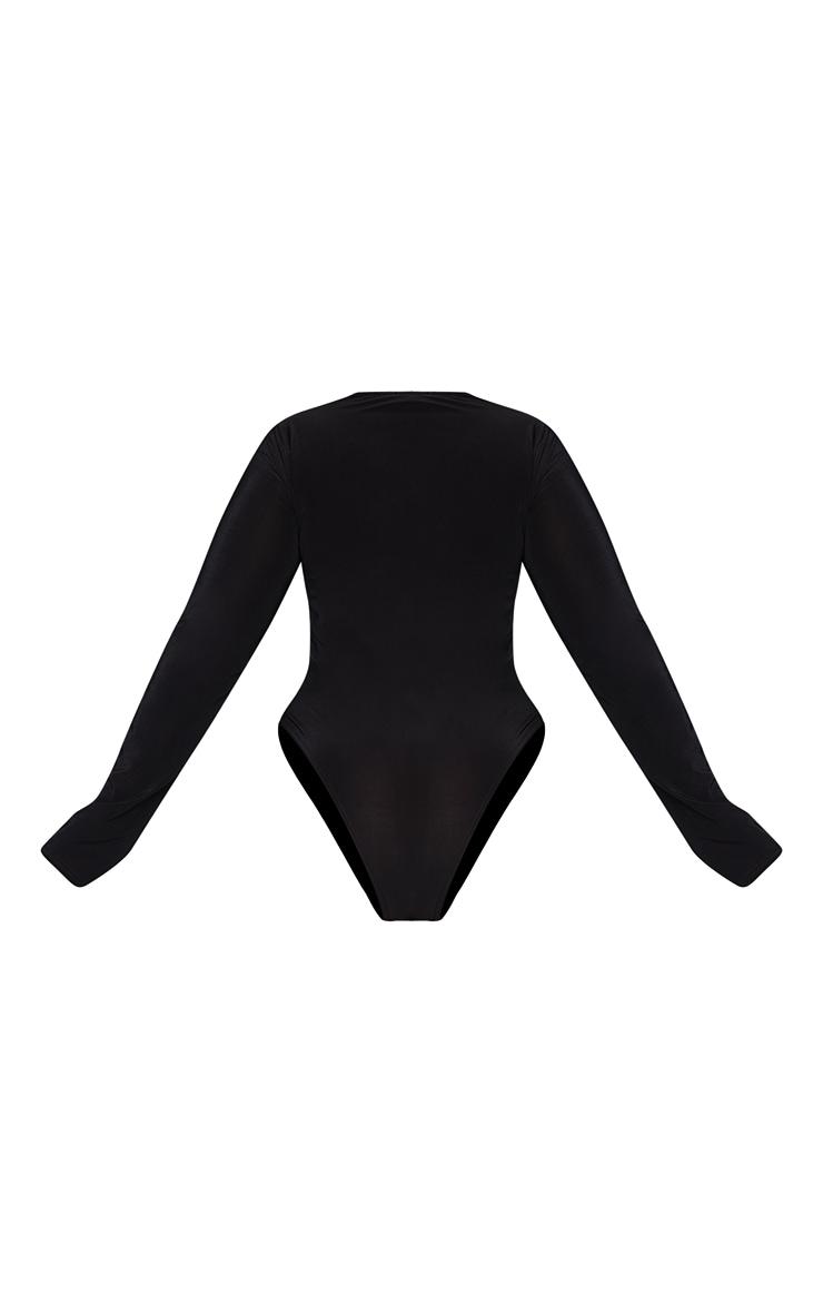 Plus Black Slinky Crew Neck Cut Out Long Sleeve Detail Bodysuit 6