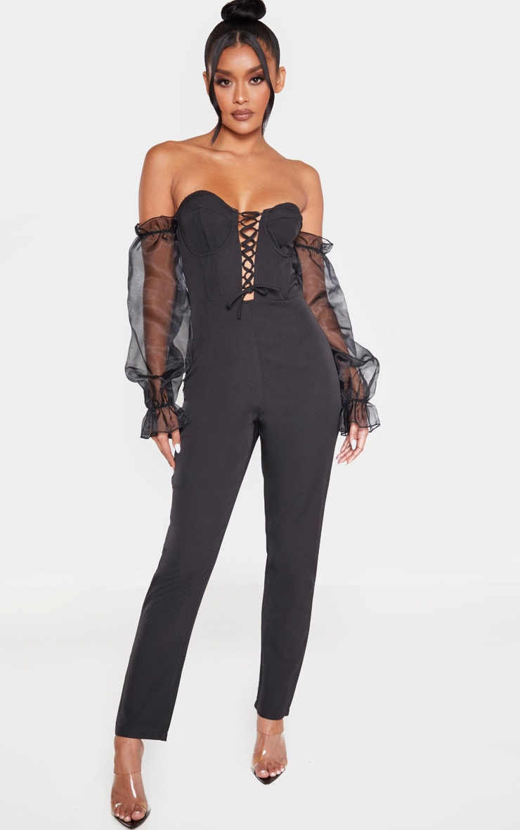 Black Lace Up Organza Puff Sleeve Bardot Jumpsuit 1