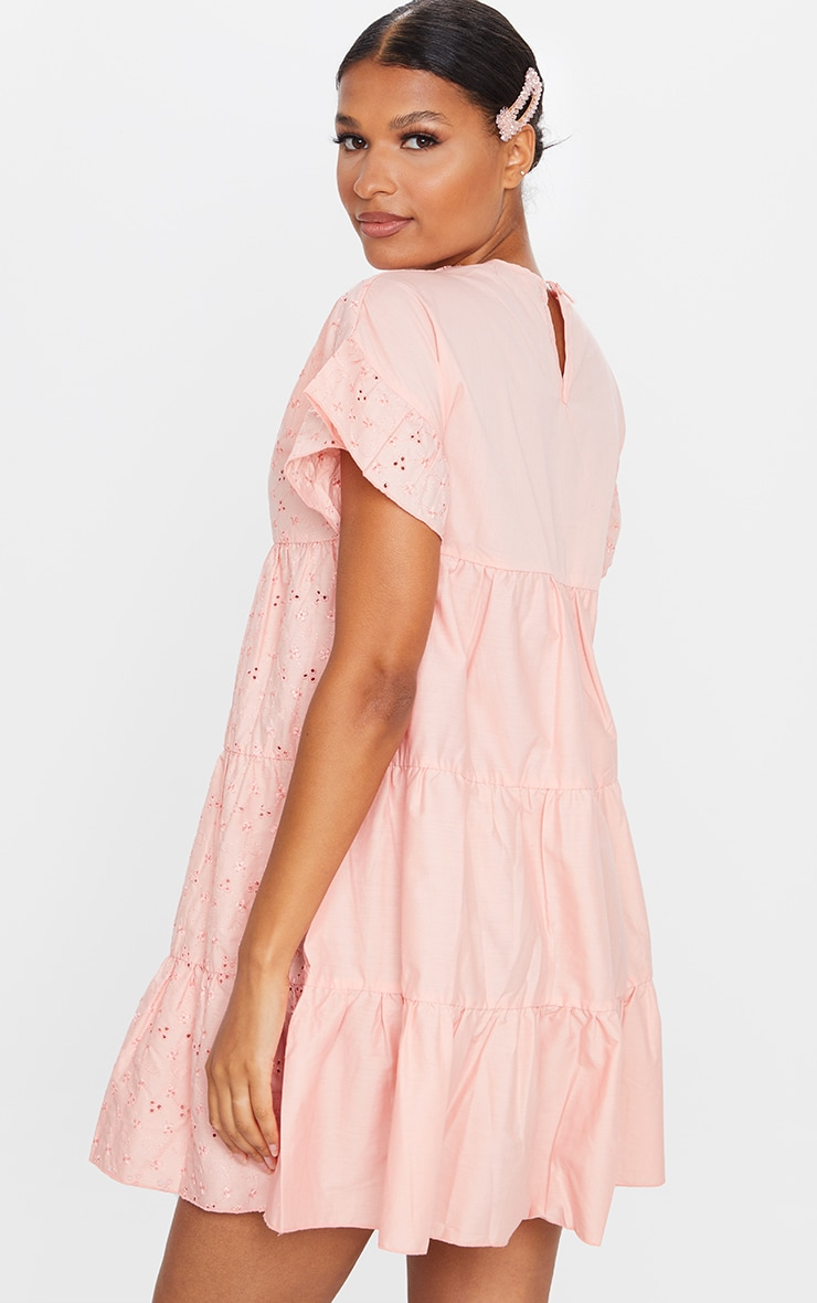 Peach Broderie Anglaise Smock Dress 2