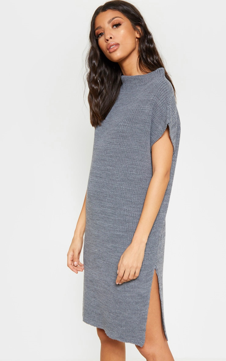 Charcoal Knitted Sleeveless Jumper Dress 3