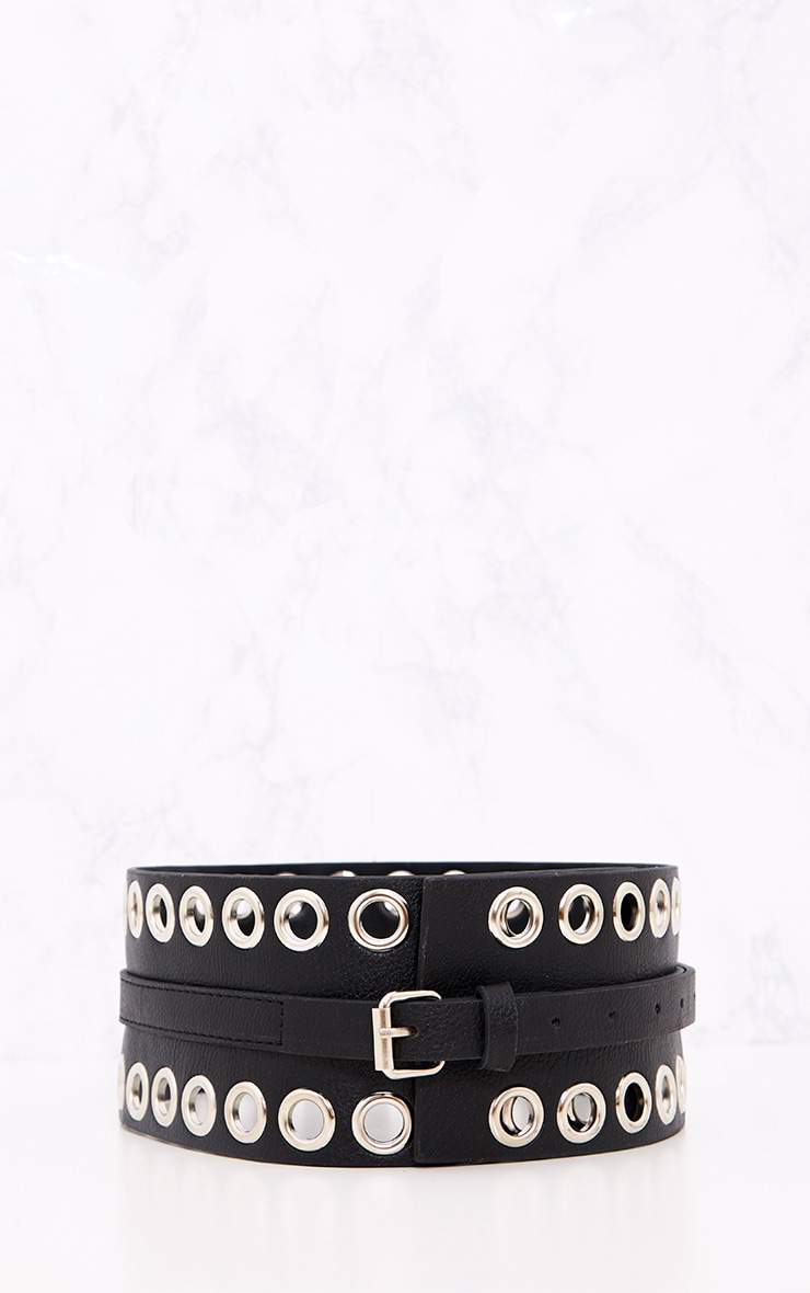 Black Double Eyelet Row Belt 4