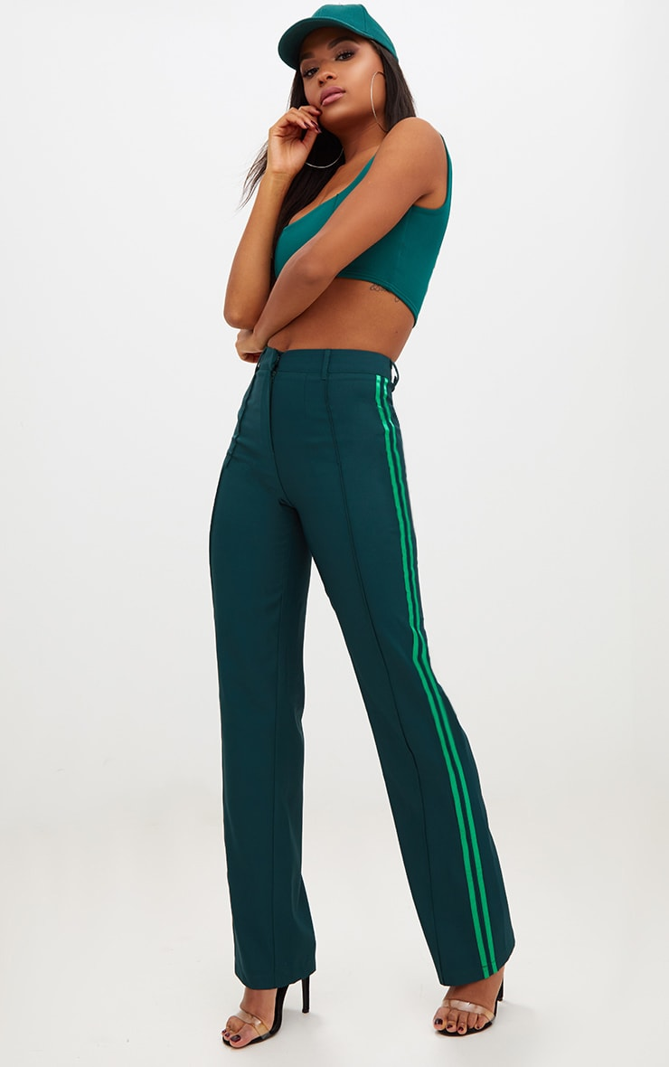 Dark Green Track Stripe High Waisted Straight Leg Trousers 1