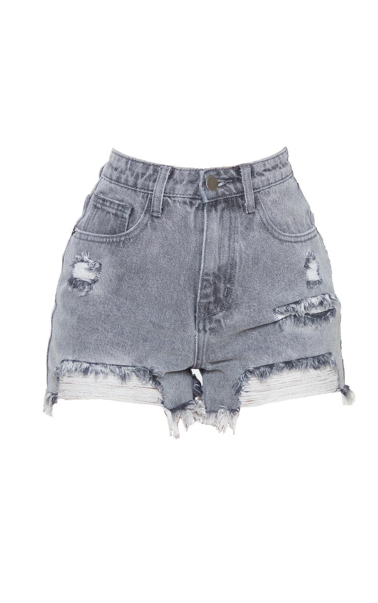 Petite Grey Distressed Denim Shorts 6