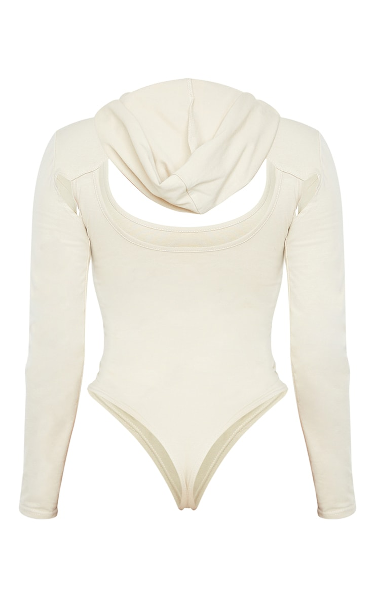 Shape Stone Cotton Cut Out Long Sleeve Hooded Bodysuit 6