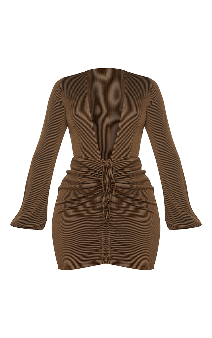 Shape Chocolate Brown Rib Plunge Ruched Detail Bodycon Dress 5