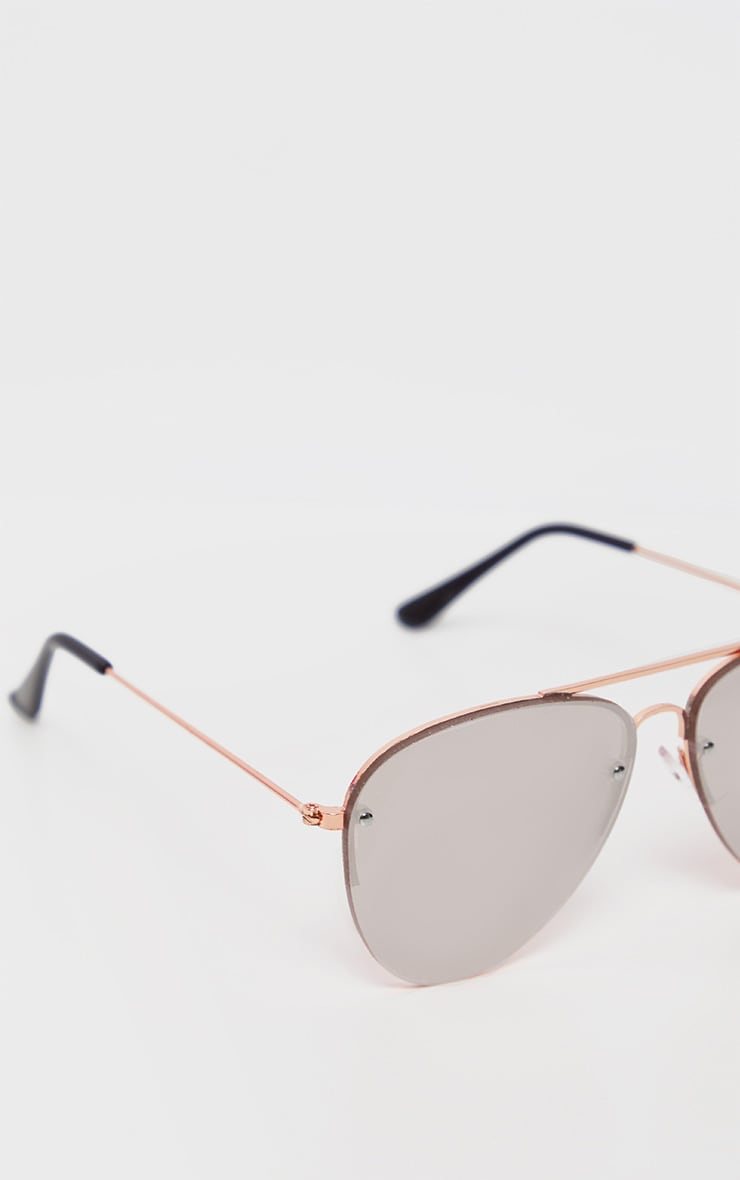 Pink Lens Rose Gold Aviator Sunglasses           4