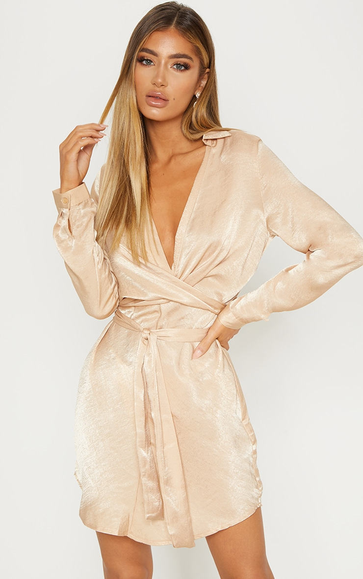 Champagne Satin Wrap Shift Dress 1