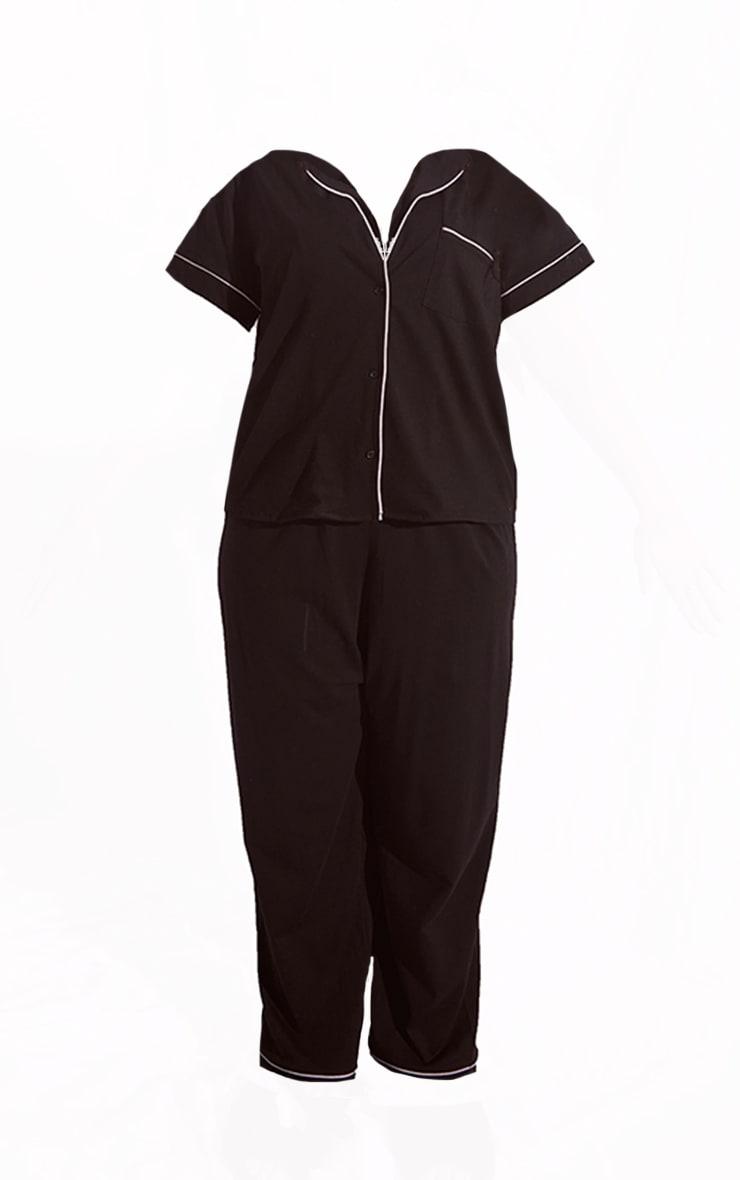 Plus Black Jersey Button Down Long PJ Set 5