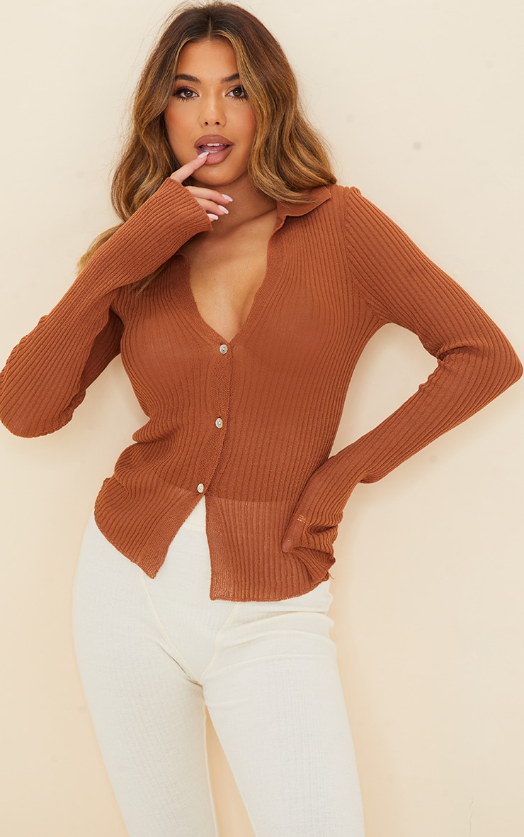 Rust Sheer Knit Button Up Collared Cardigan 1