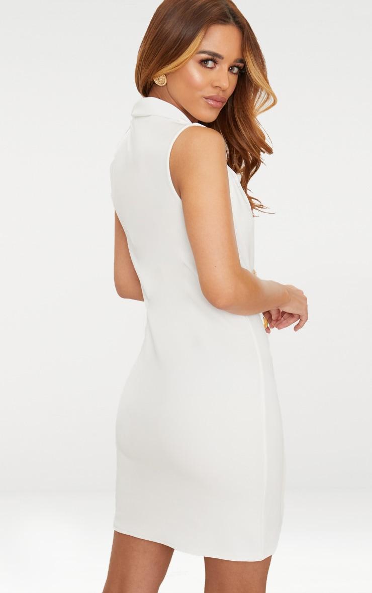 Petite White Button Detail Sleeveless Blazer Dress 2