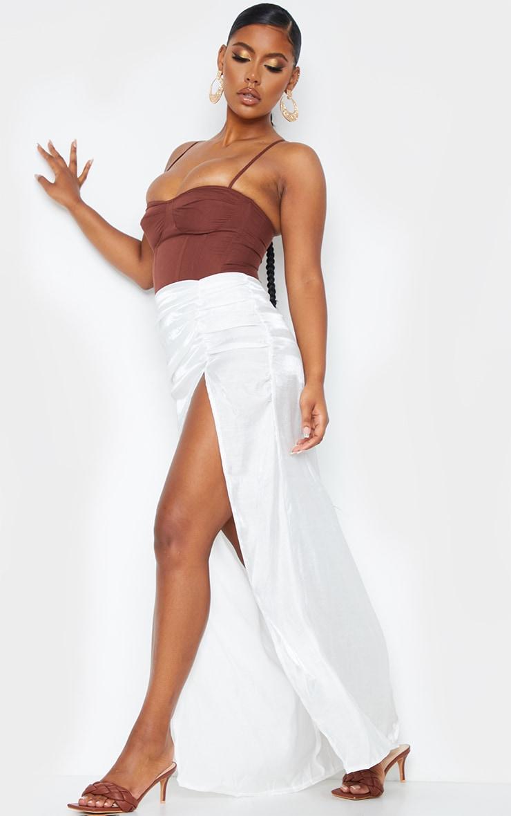 White Sheer Ruched Side Split Leg Maxi Skirt 4