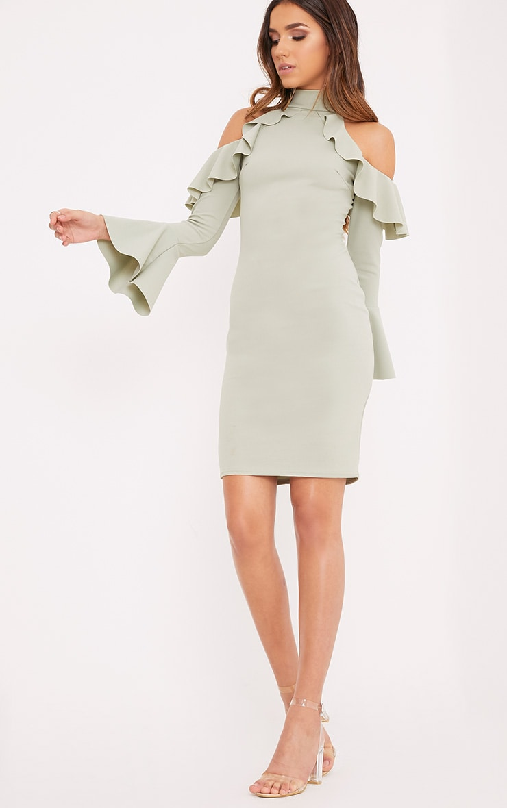 Zarinia Sage Green Cold Shoulder Ruffle Midi Dress 1