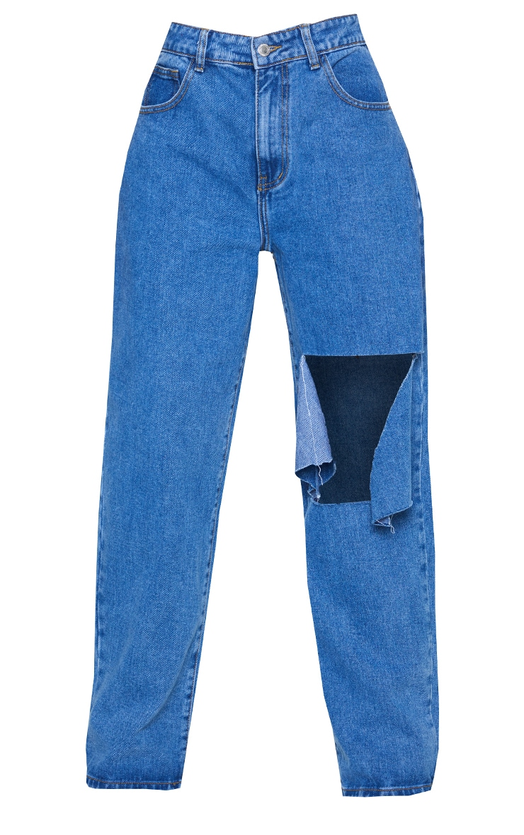 Mid Blue Wash Extreme Knee Rip Boyfriend Jeans 5