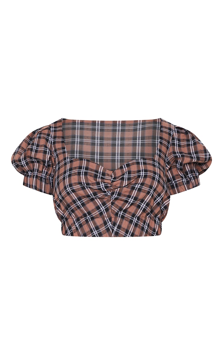 Brown Puff Sleeve Crop Blouse 3