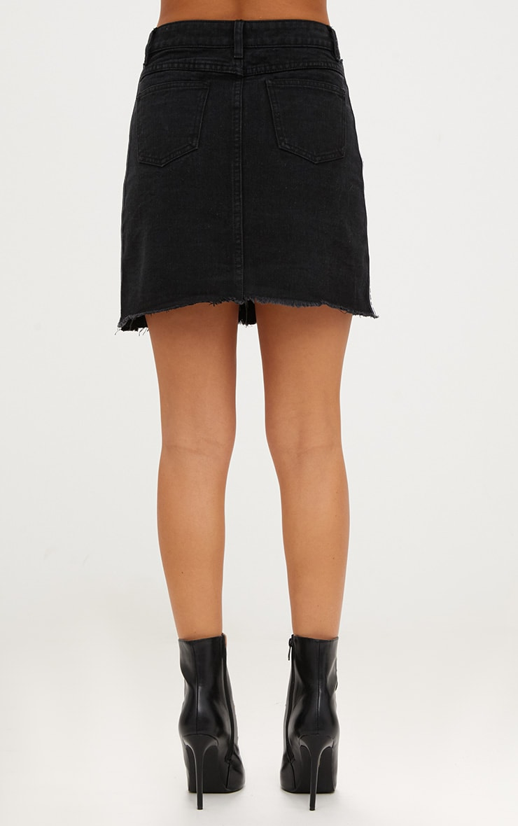 PRETTYLITTLETHING Black Sports Stripe Denim Mini Skirt 4