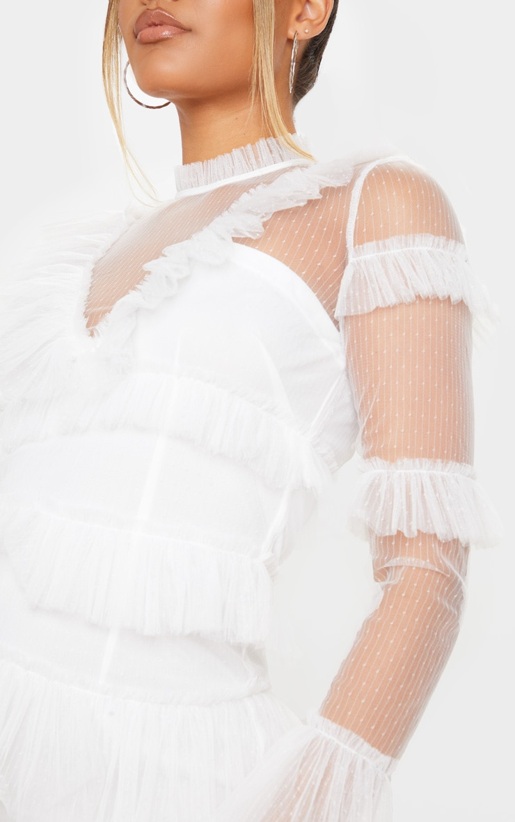 White Ruffle Mesh Bodycon Dress 4