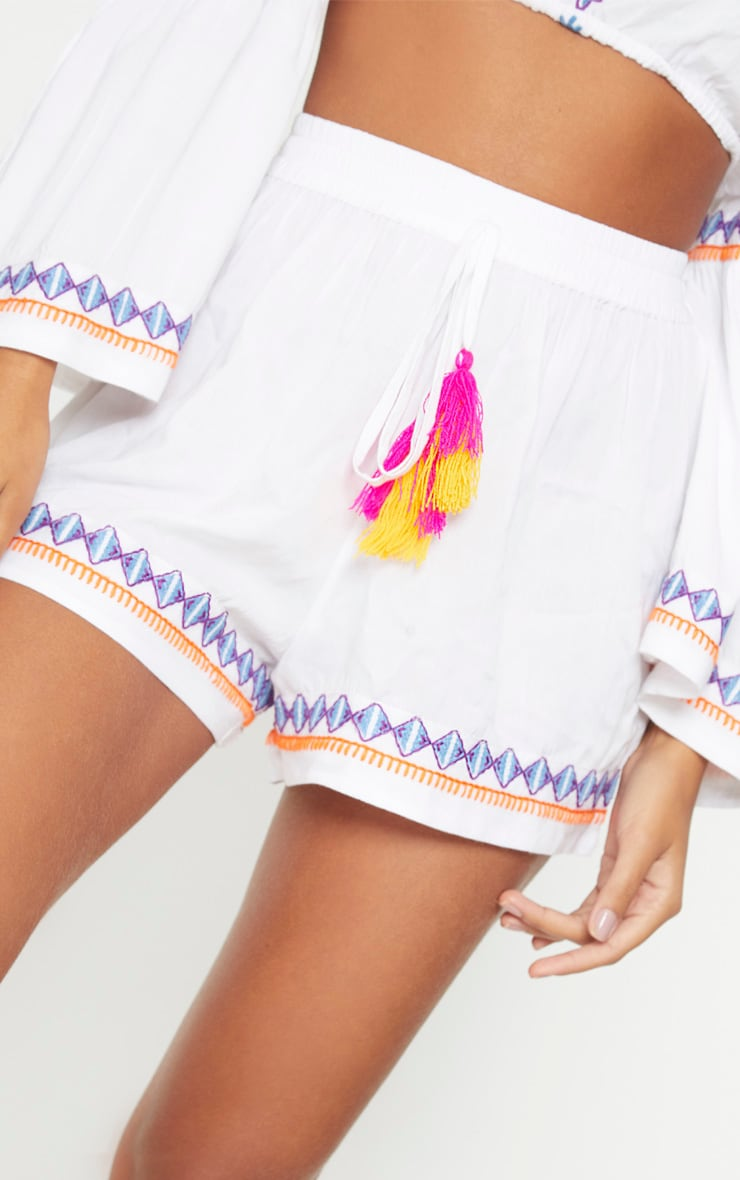 White Embroidered Floaty Shorts 6