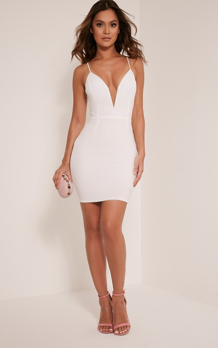 Mellia Cream Plunge Bodycon Dress 5