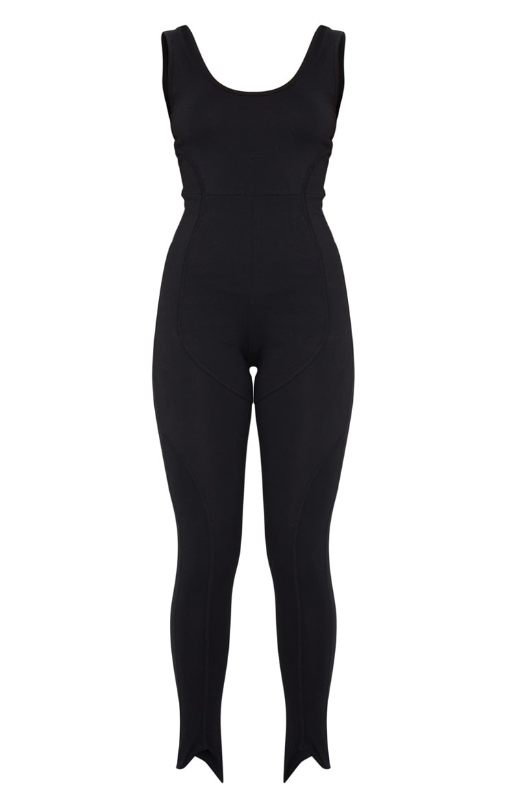 Black Binding Detail Scoop Neck Stirrup Jumpsuit 5