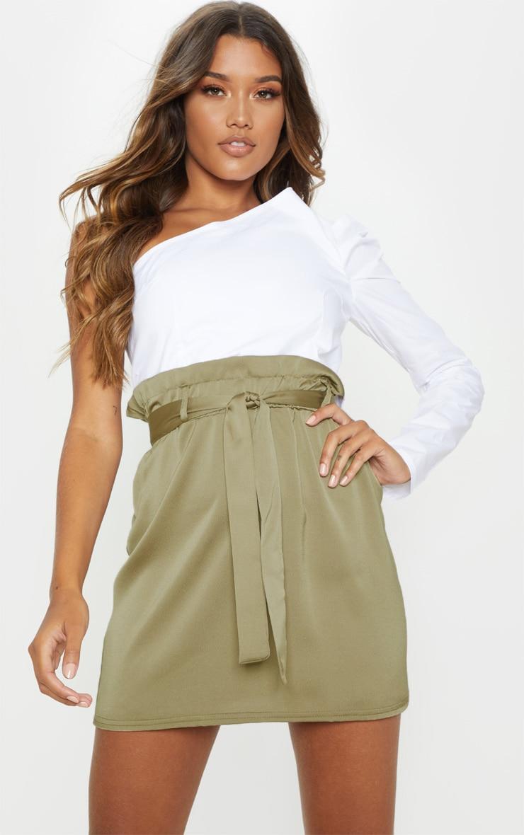 Olive Green Woven Paper Bag Waist Mini Skirt