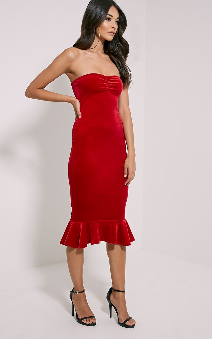Tawny Red Velvet Bandeau Midi Dress 3