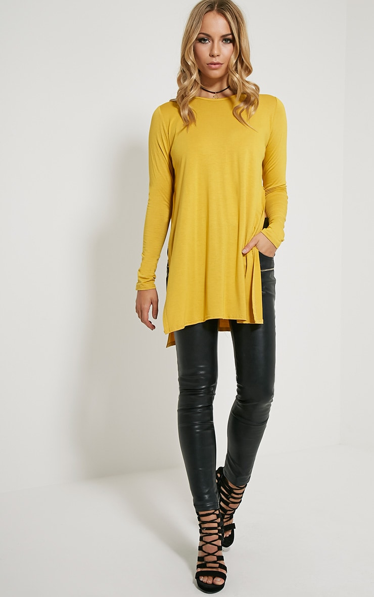Basic Mustard Long Sleeve Side Split Top 3