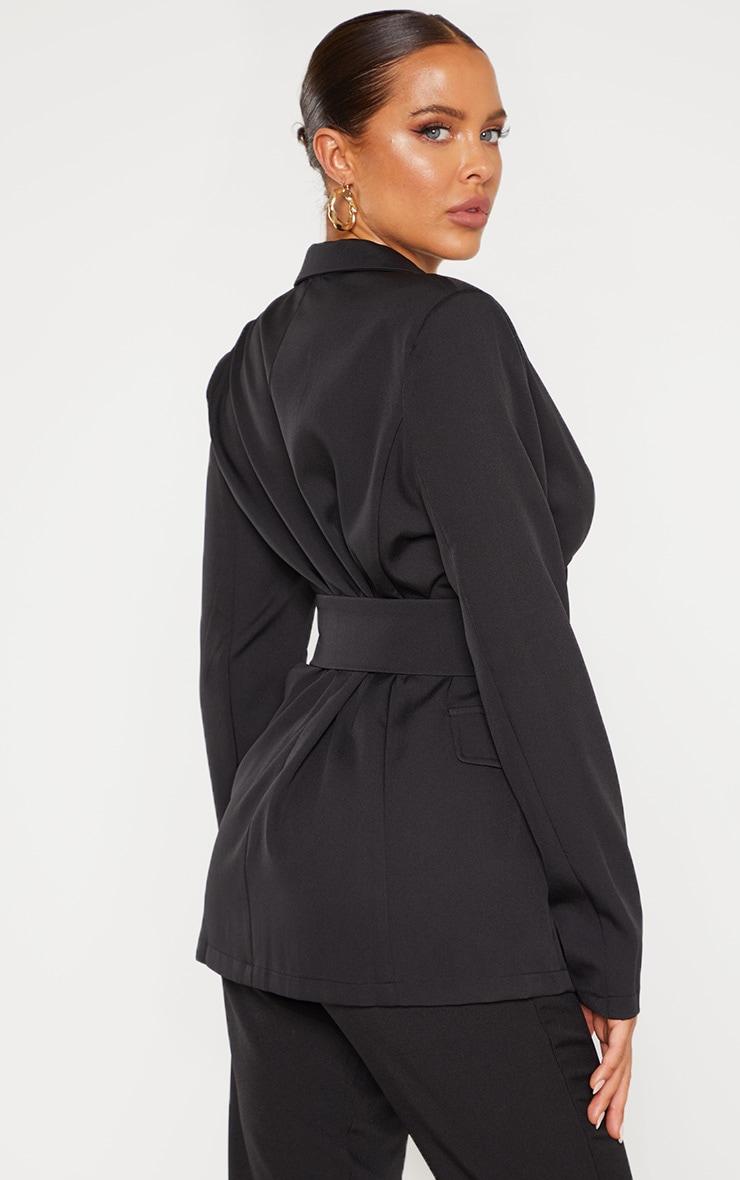 Black Corset Woven Blazer 2