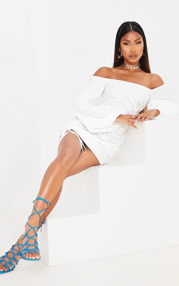 White Woven Bardot Asymmetric Ruched Bodycon Dress 3