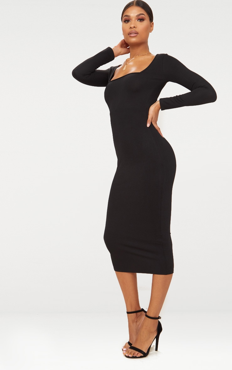 Black Square Neck Long Sleeve Midaxi Dress 4