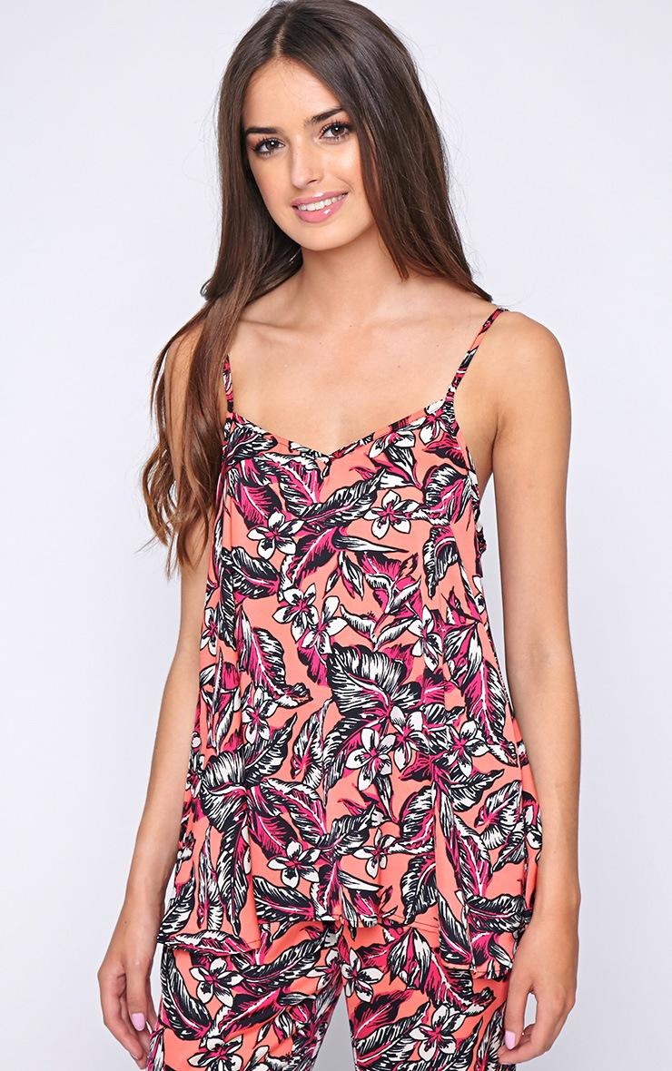 Annabelle Coral Floral Print Vest  1