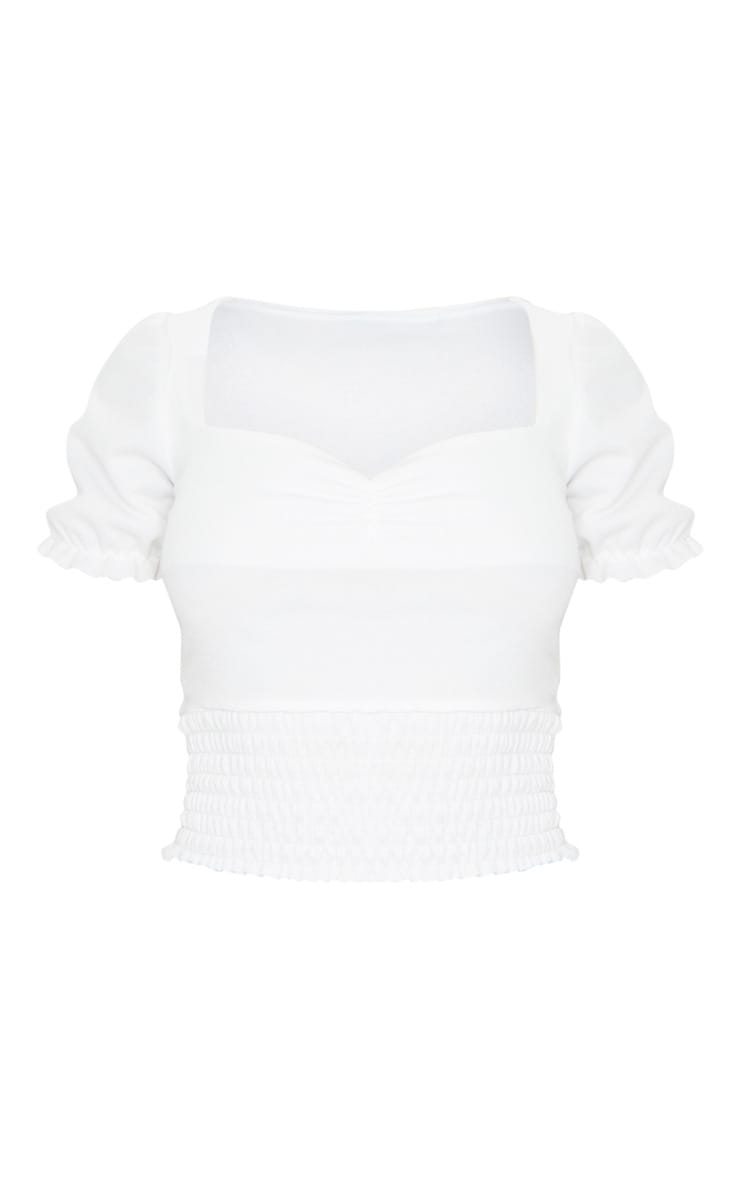 White Crepe Shirred Short Sleeve Top 5