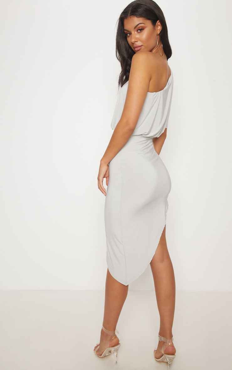 Ice Grey Drape One Shoulder Asymmetric Midi Dress 2