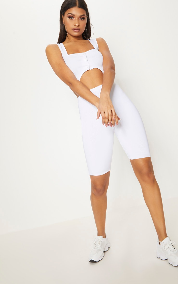 White Crepe Button Front Point Hem Crop Top 4