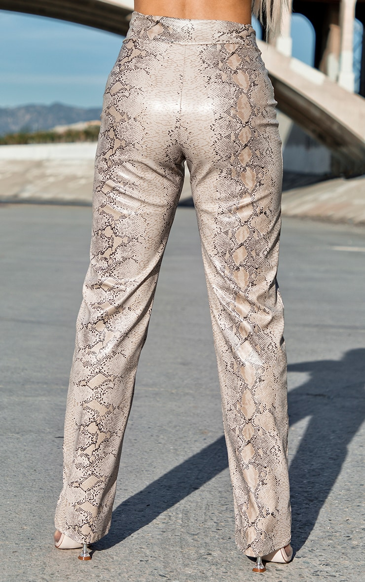 Taupe Snake Print V Waist Trousers 3