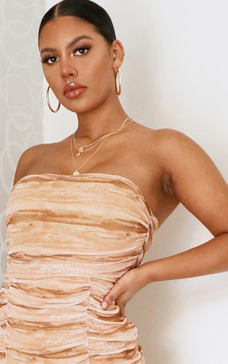 Tan Tie Dye Mesh Extreme Ruched Bandeau Bodycon Dress 2