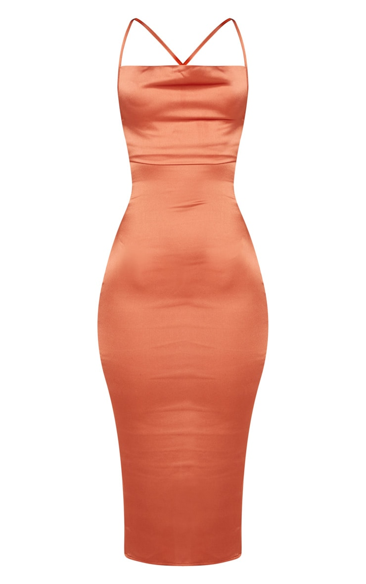Rust Strappy Back Cowl Neck Satin Midi Dress 3