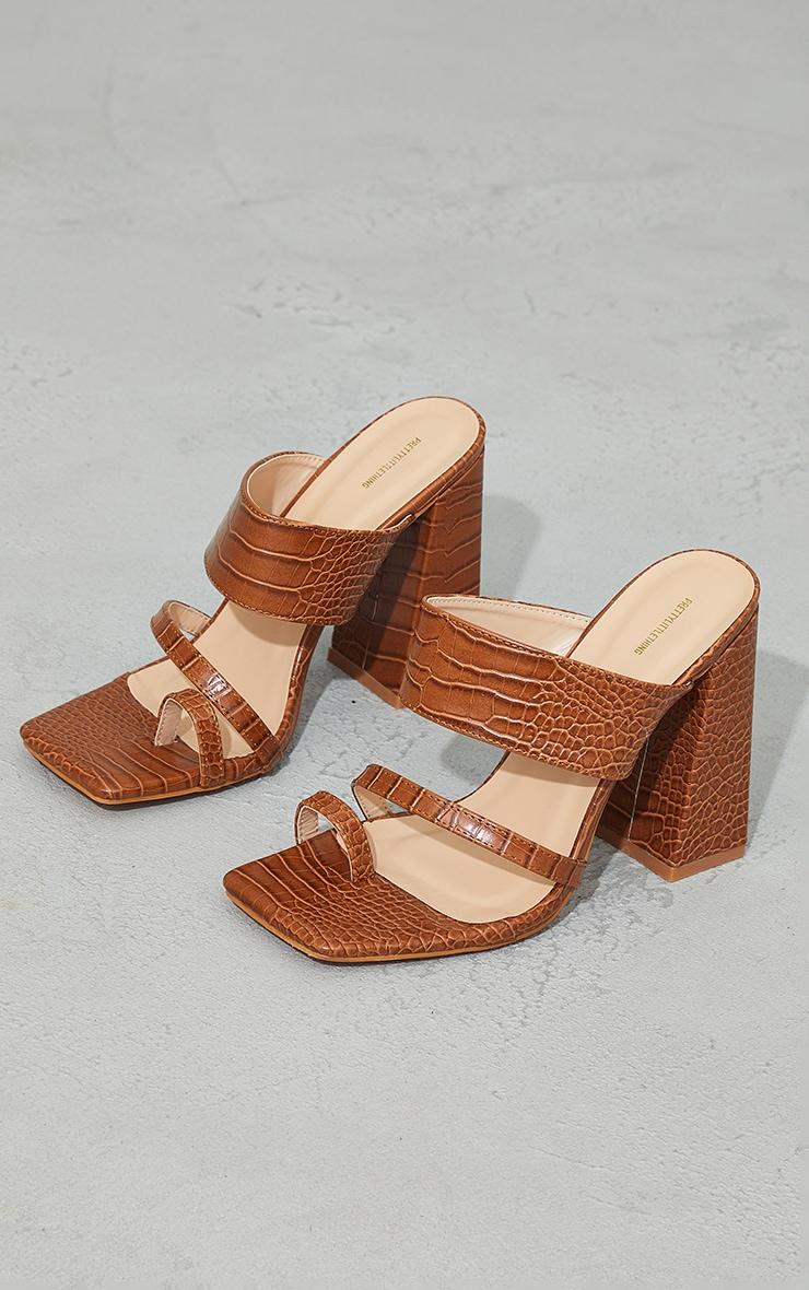 Tan Wide Fit PU Croc Toe Loop Block Heel Mules 3