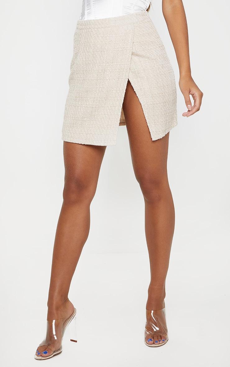 Stone Textured Glitter Tweed Split Front Mini Skirt  2