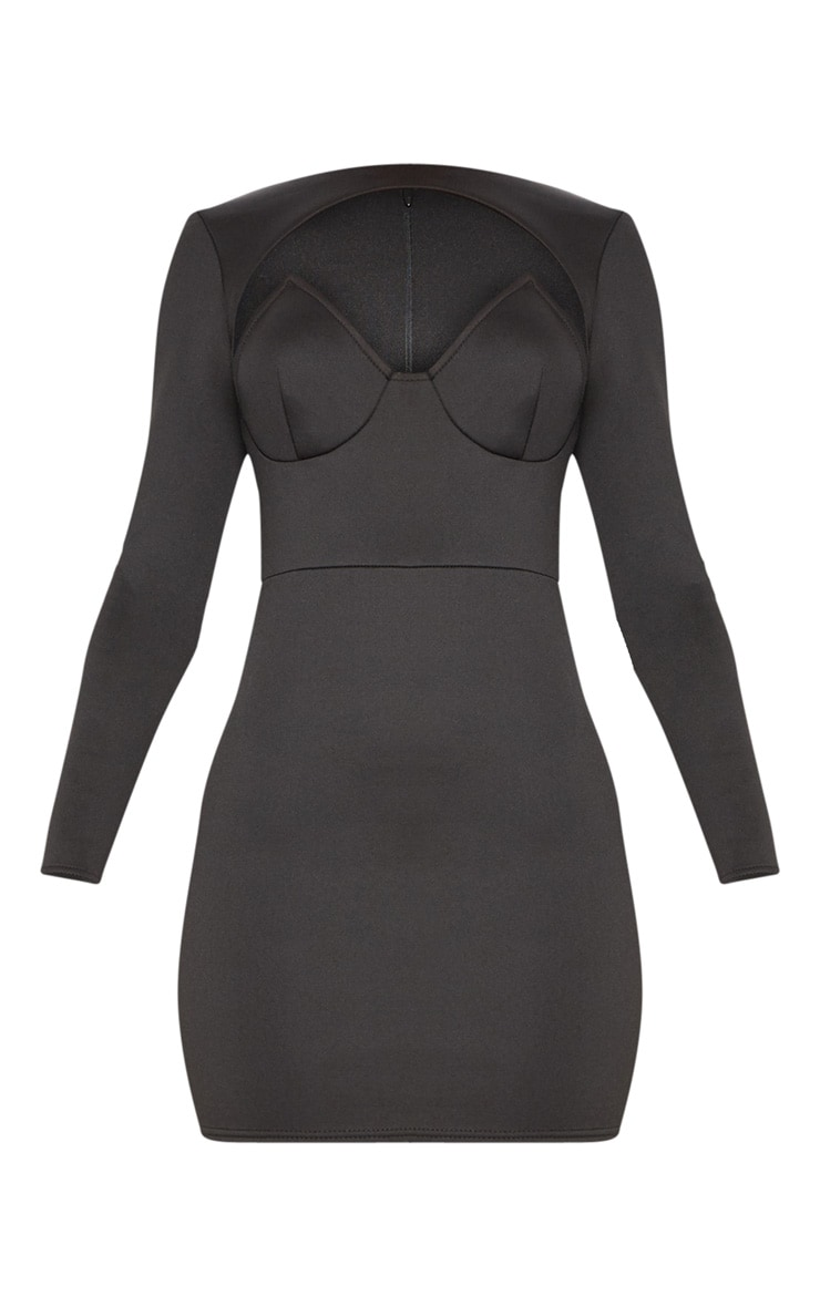 Black Long Sleeve Plunge Cut Out Detail Bodycon Dress 3
