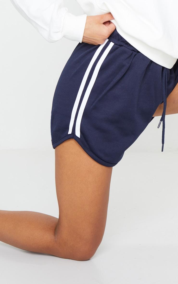 Navy Nylon Side Stripe Drawstring Shorts 5
