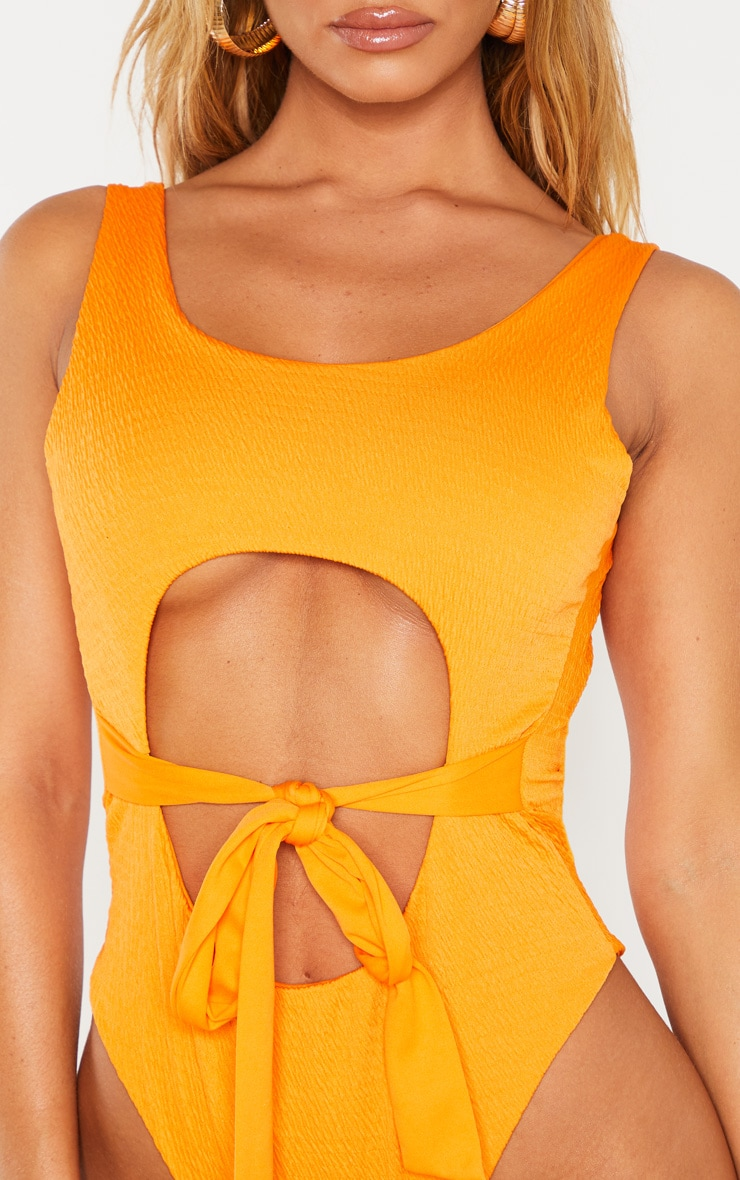 Orange Crinkle Cut Out Belted Swimsuit 5