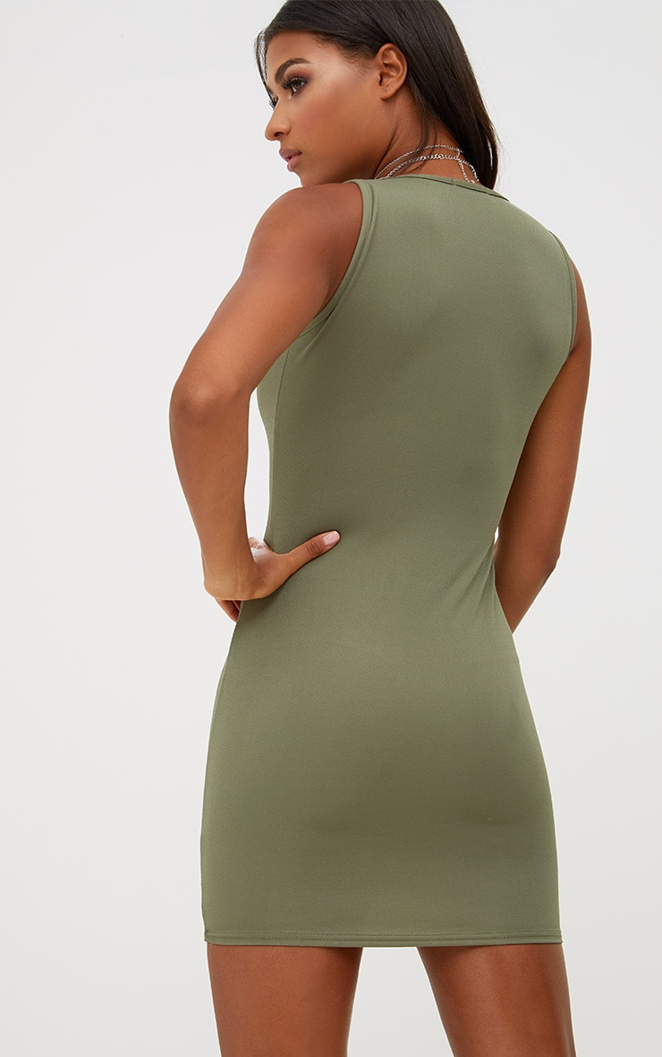 Khaki Eyelet Detail Bodycon Dress 2