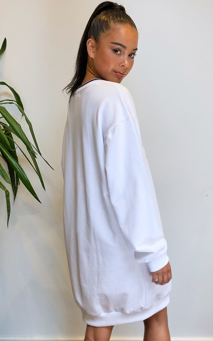 PRETTYLITTLETHING White Contrast Neck Oversized Sweater Dress 2