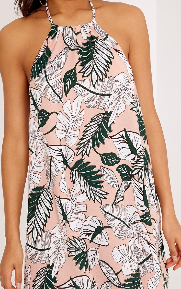 Crolia Pink Leaf Print Halterneck Shift Dress  5