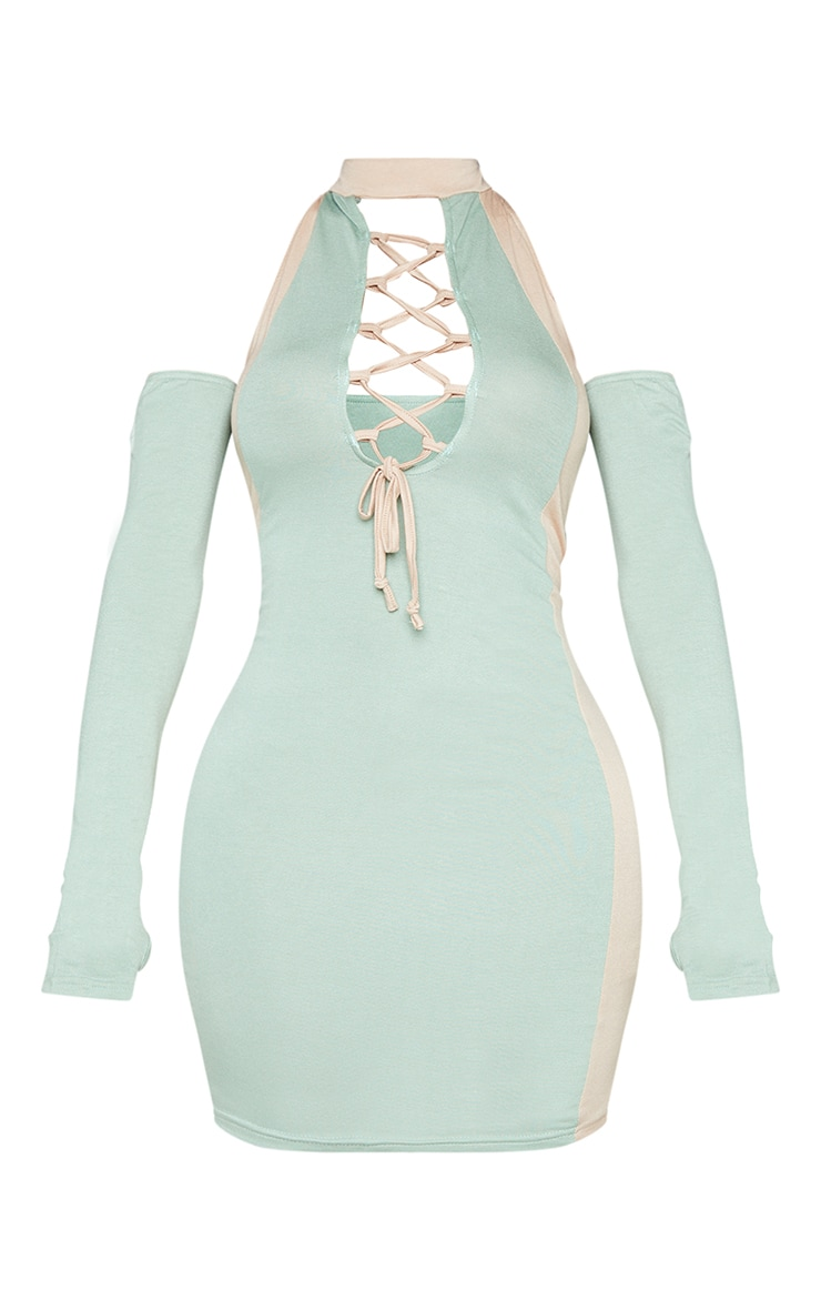 Shape Sage Green Panel Detail Lace Up Bodycon Dress 5