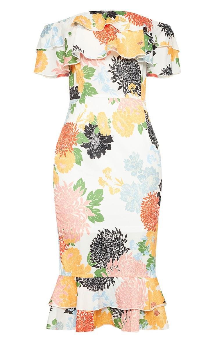 White Oriental Floral Print Frill Bardot Midi Dress  3
